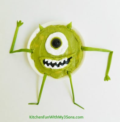 Monsters, Inc. Mike Wazowski Guacamole....a fun & healthy snack for the kids! KitchenFunWithMy3Sons.com