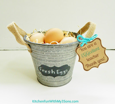 Teacher Appreciation Farm Fresh Eggs Gift with a Free Printable from KitchenFunWithMy3Sons.com