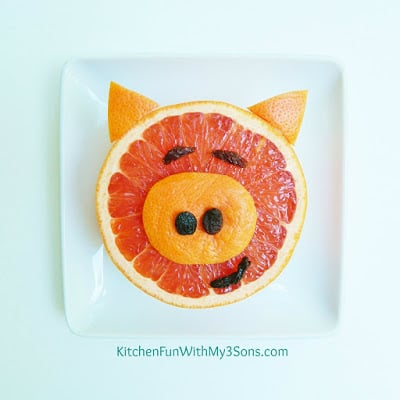 PIggy Grapefruit...this fun & healthy fruit snack is a great way to get your picky eaters to try grapefruit and it's SO easy to make! KitchenFunWithMy3Sons.com