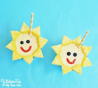 Sunshine Smoothie...so easy to make and a fun way to get the kids to eat a healthy breakfast for snack! KitchenFunWithMy3Sons.com