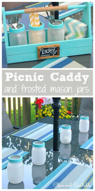 Frosted Mason Jars & Picnic Caddy
