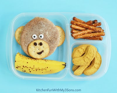 Monkey Back to School Bento Lunch from KitchenFunWithMy3Sons.com