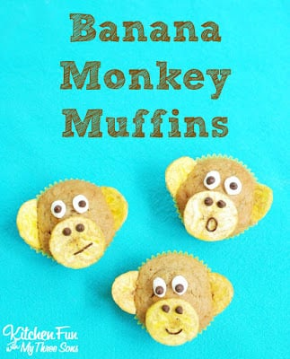Banana Nut Monkey Muffins from KitchenFunWithMy3Sons.com
