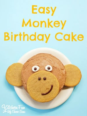 Easy Monkey Birthday Cake from KitchenFunWithMy3Sons.com