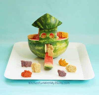 Noah's Ark Watermelon Snack from KitchenFunWithMy3Sons.com