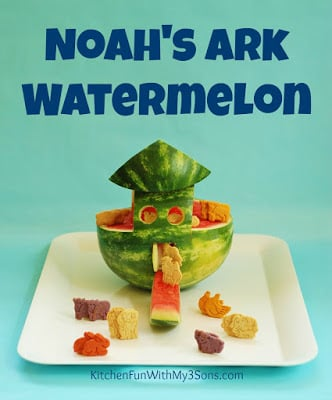 Noahs ark watermelon snack kitchen fun with my 3 sons noahs ark watermelon snack forumfinder Images