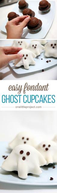 Easy Fondant Ghost Cupcakes