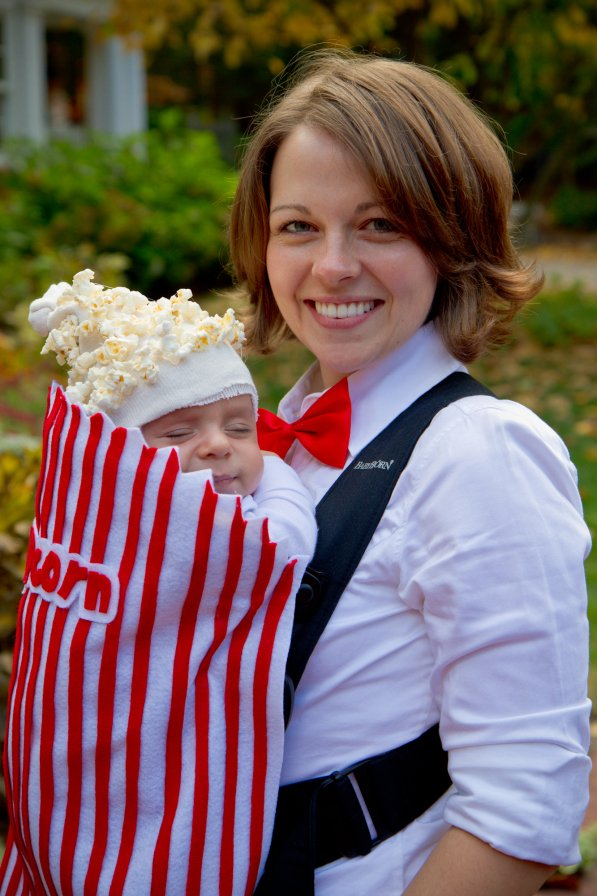 Baby Carrier Movie Popcorn Costume...these are the BEST Homemade Costumes for Kids!