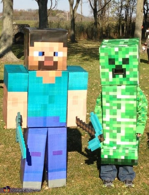 Steve & Creeper Minecraft Costumes
