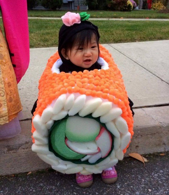 Homemade Sushi Halloween Costume....these are the BEST DIY Costume ideas for Babies & Kids!