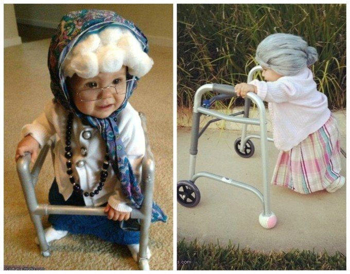 Old Lady Grandma Baby Costume....these are the BEST Homemade Halloween Costumes for Babies & Kids!