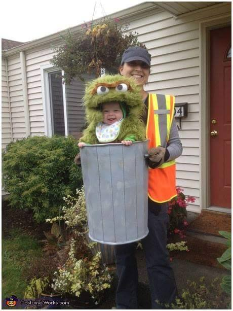 Oscar the Grouch Baby Costume...these are the BEST Homemade Halloween Costume Ideas for Babies & Kids!