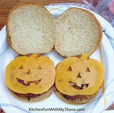 Jack-O-Lantern Cheese Burgers