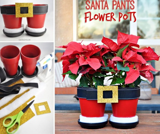 Santa Pants Flower Pots for Christmas
