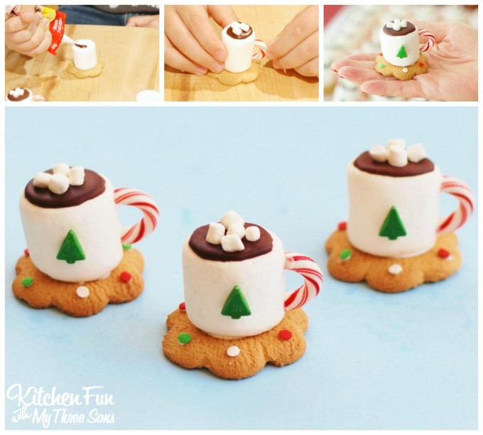 Christmas Hot Cocoa Marshmallow Cookie Cups