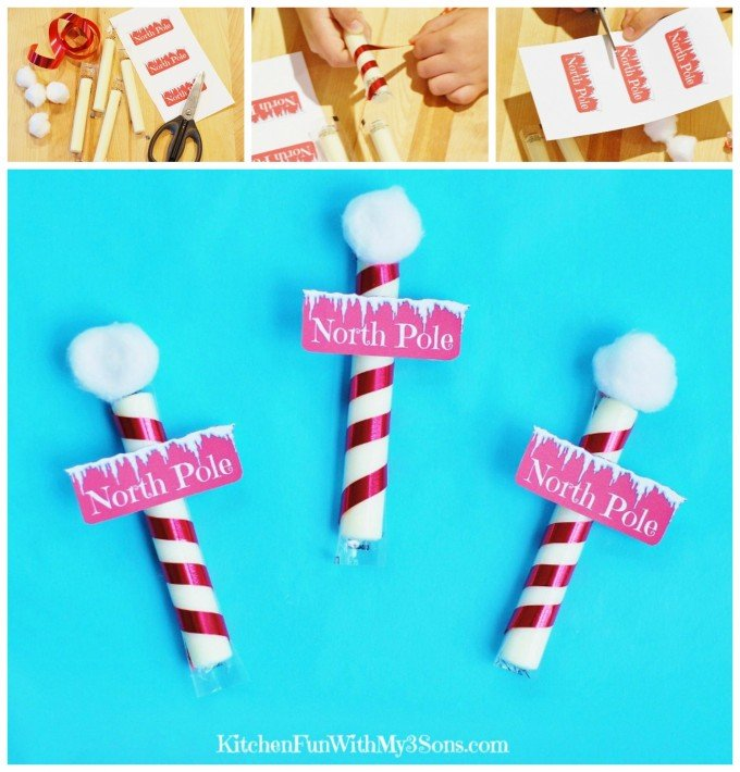 North Pole Cheese Sticks Snacks...a healthy Christmas snack for Kids wtih a Free Printable from KitchenFunWithMy3Sons.com
