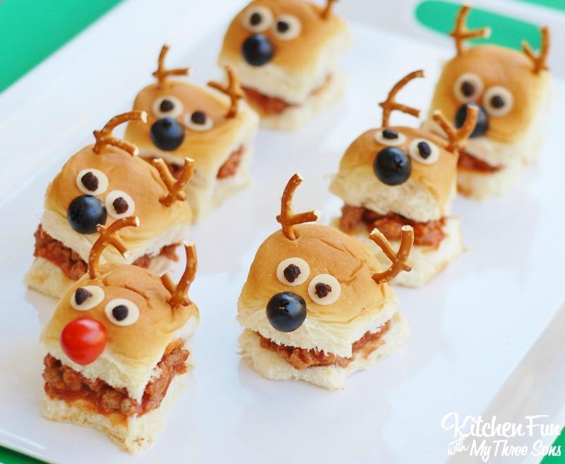 Christmas party idea reindeer sloppy joe sliders with