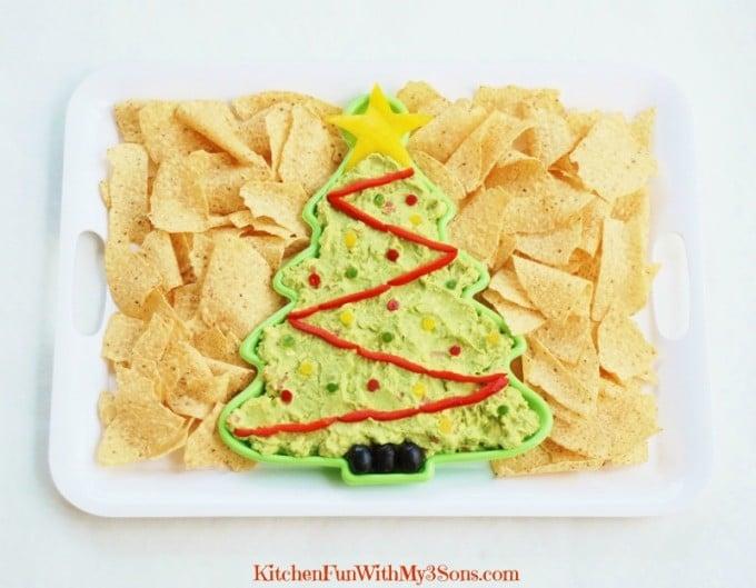 Christmas Tree Guacamole Appetizer Dip