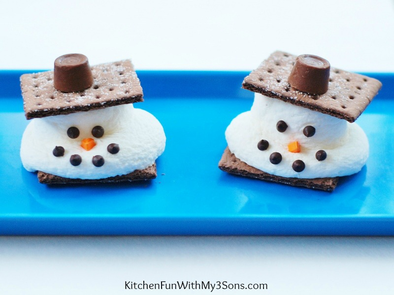 Christmas Kids Party Ideas Part - 48: Melted Snowman Su0027mores For A Fun U0026 Easy Christmas Treat!  KitchenFunWithMy3Sons.com