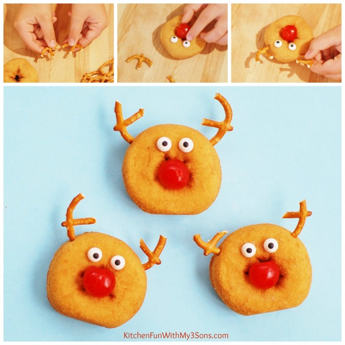 Easy Christmas Rudolph the Red Nose Reindeer Mini Donuts from KitchenFunWithMy3Sons.com