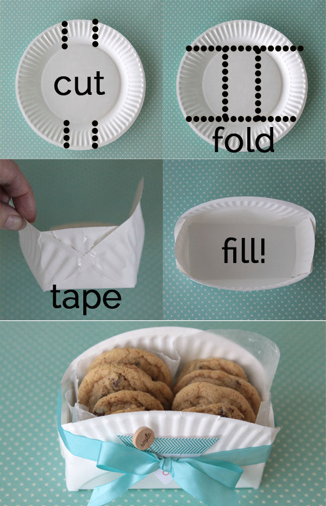 DIY Cookie Baskets made from Paper Plates....such a fun & easy Christmas gift idea!