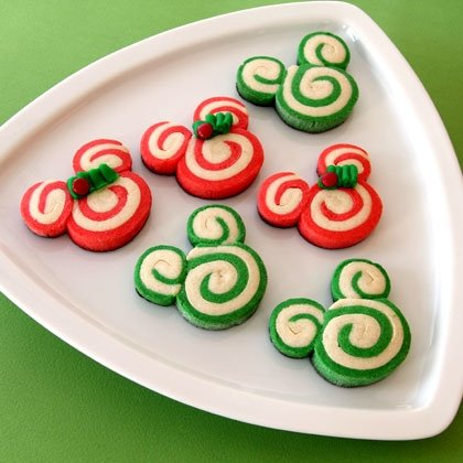 Mickey Mouse Christmas Swirl Pinwheel Cookies