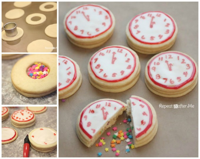 New Year's Eve Clock Confetti Surprise Cookies