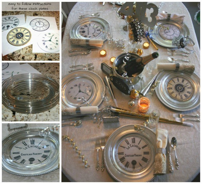 DIY Clock Plates for a New Year's Table Setting
