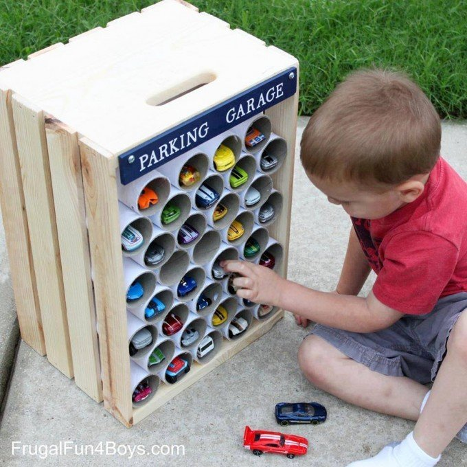 DIY Wooden Crate Hot Wheels Cars Storage & Display