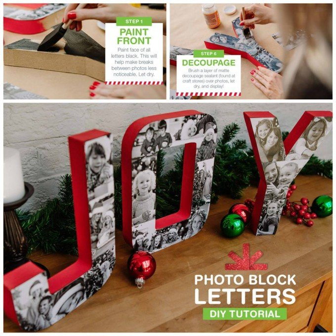DIY Photo Block Joy Letters
