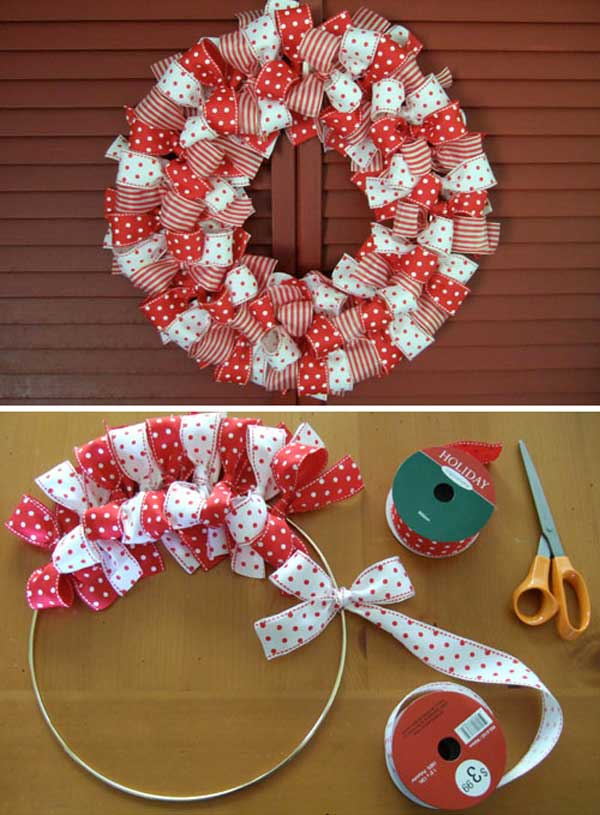 DIY Ribbon Wreath for Christmas