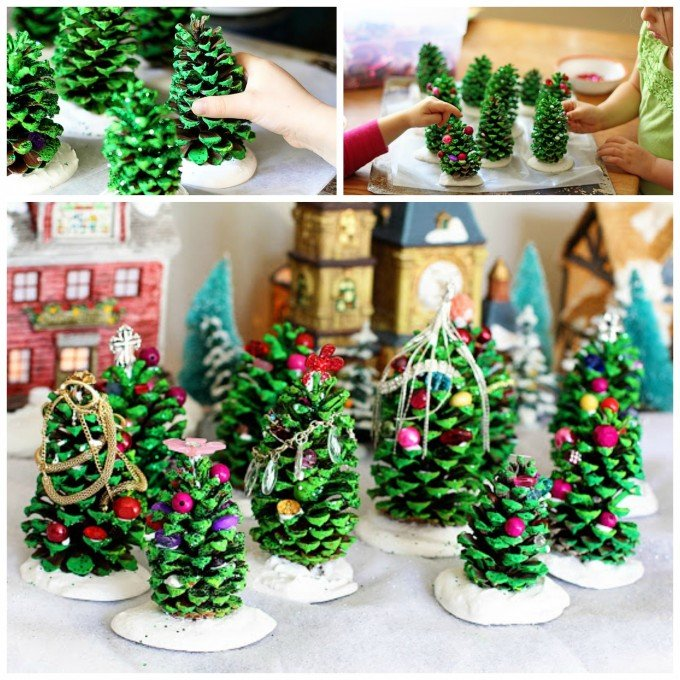 Christmas Pine Cone Tree Craft