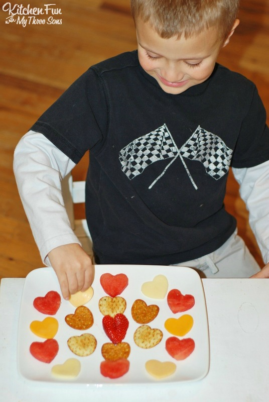 Valentine's Day Snack - Fruit & Cheese Heart Platter for a fun Valentine appetizer from KitchenFunWithMy3Sons.com