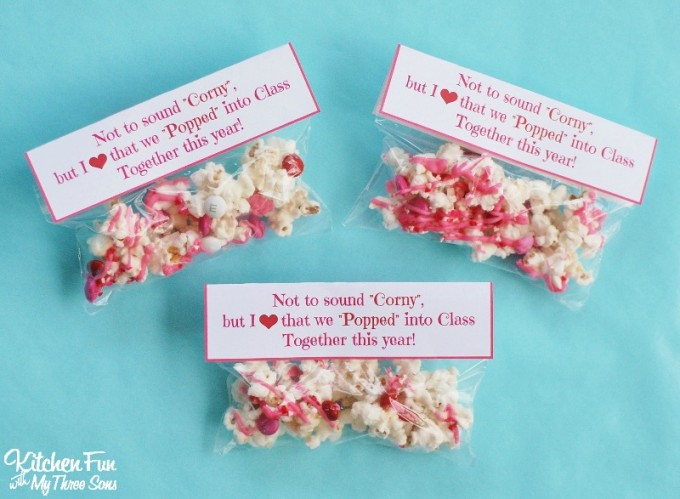 photo regarding Popcorn Valentine Printable referred to as Valentines Working day Snack - White Chocolate Popcorn with a Absolutely free