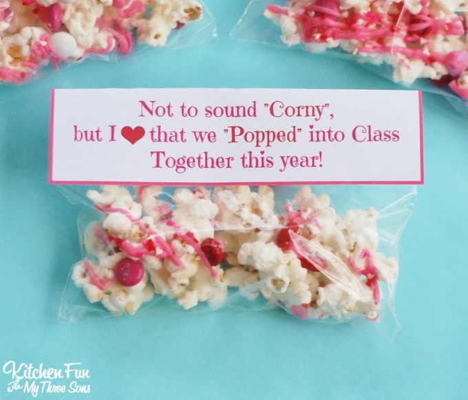 graphic about Popcorn Valentine Printable identified as Valentines Working day Snack - White Chocolate Popcorn with a Cost-free