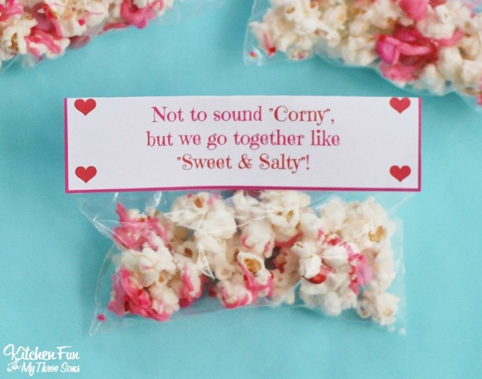 graphic relating to Popcorn Valentine Printable titled Valentines Working day Snack - White Chocolate Popcorn with a Totally free