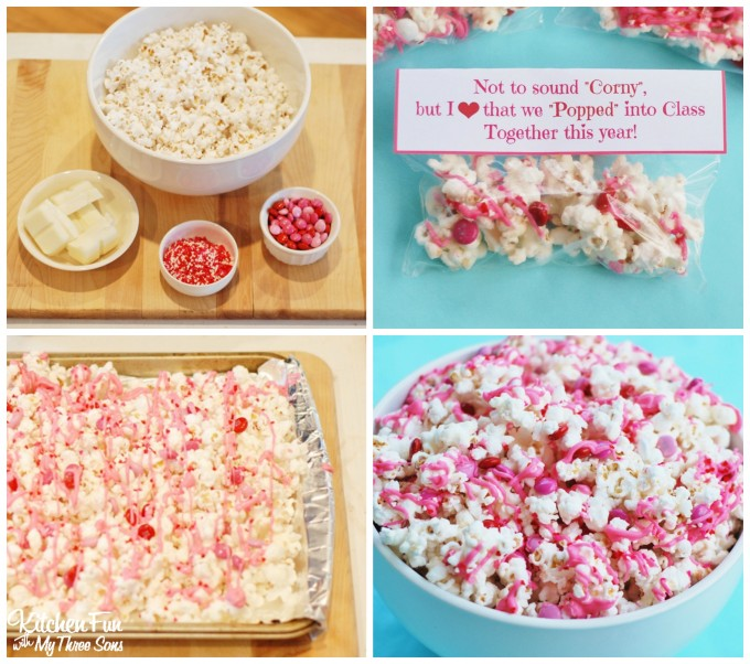 Valentine's Day Snack - White Chocolate Popcorn with a Free Printable from KitchenFunWithMy3Sons.com