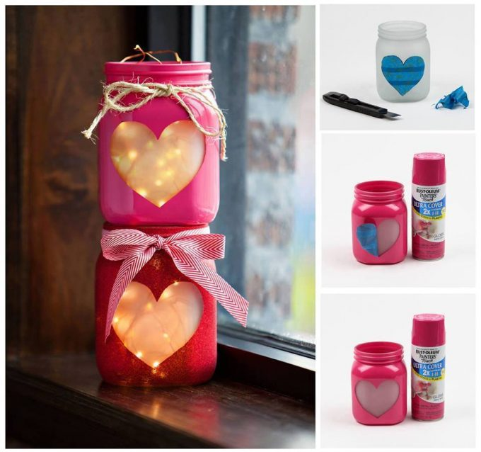 DIY Heart Mason Jars...these are the BEST Valentine's Day Craft Ideas!