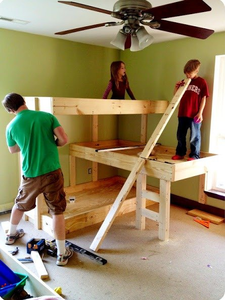 DIY Wood Triple Bunk Beds