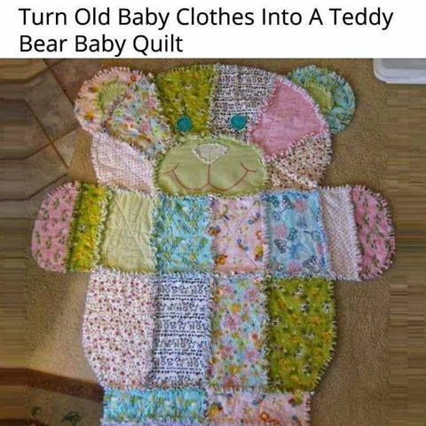Turn old baby clothes into a teddy bear quilt...such a fun keepsake!