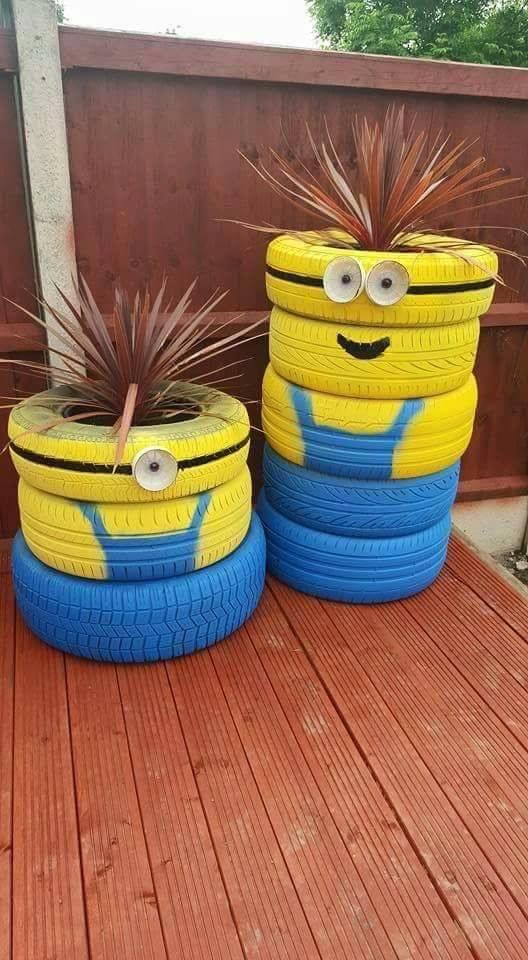 Minion Tire Planters