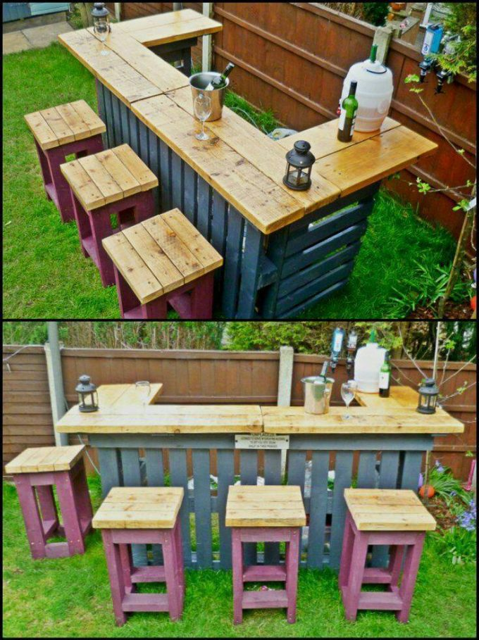 DIY Outdoor Pallet Bar...these are the BEST Pallet ideas!