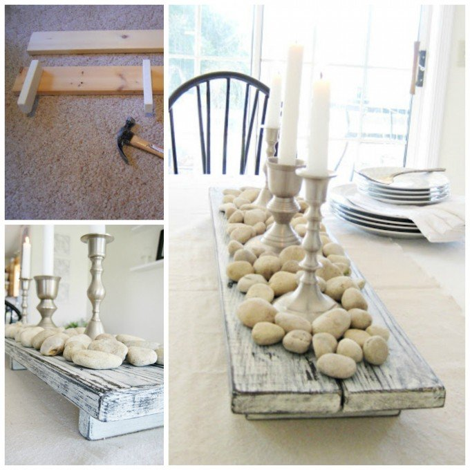 DIY Rustic Pallet Wood Farmhouse Centerpiece