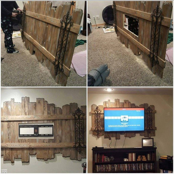 diy wood pallet decorative tv wall mount - Wood Pallet Projects