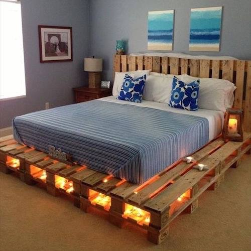 DIY Wood Pallet Bed with Lights!