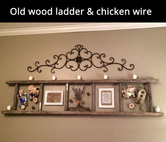 Old Wood Ladder & Chicken Wire Frame