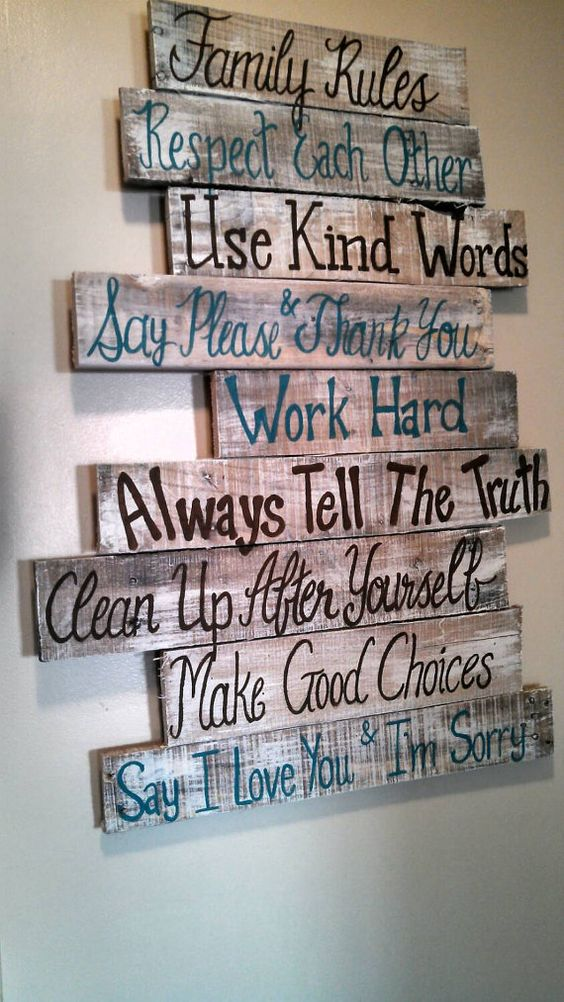 Family Rules Pallet Wall Sign