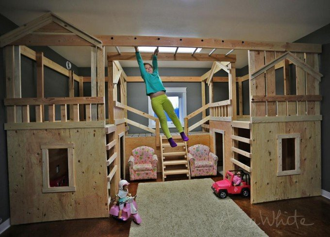 DIY Indoor Wood Playground