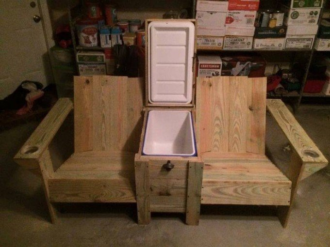 DIY Wood Twin Seater with a Cooler!