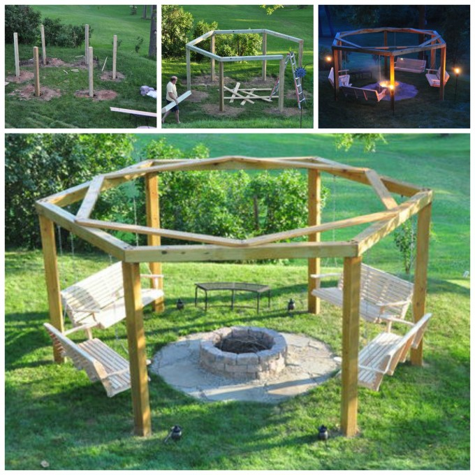 DIY Porch Swing Fire Pit....these are awesome DIY Pallet & Wood Ideas!